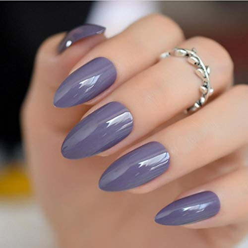 JSIYU Faux Ongles Courts Ovales Tranchants Solides Faux Ongles Stiletto Pointu Pure Color Gel UV Porter Des Conseils Complets, F76 G