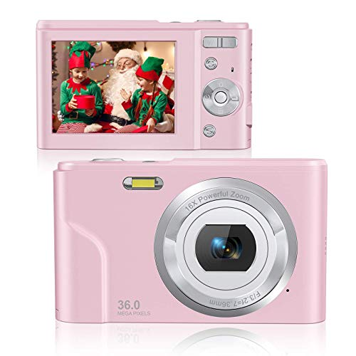 Rosdeca 36 Mega Pixels Digital Video Camera for Photography, 1080P Rechargeable Compact Kids Camera with 16x Digital Zoom, Point and Shoot Camera with 2 Batteries - Pink