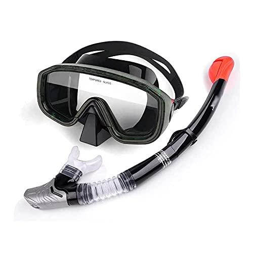 Tubo respirador seco Conjunto anti-fugas sin marco con escafandra Máscara del salto con anti-vaho vidrio templado lente plegable facilitar la respiración snorkel tubo engranaje amplia panorámica gafas