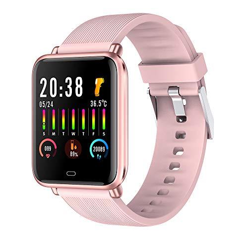 Reloj Inteligente, Pulsera Inteligente con detección de Temperatura Corporal, Monitor de presión Arterial y oxígeno en Sangre, rastreador de Actividad Adecuado para Hombres y Mujeres