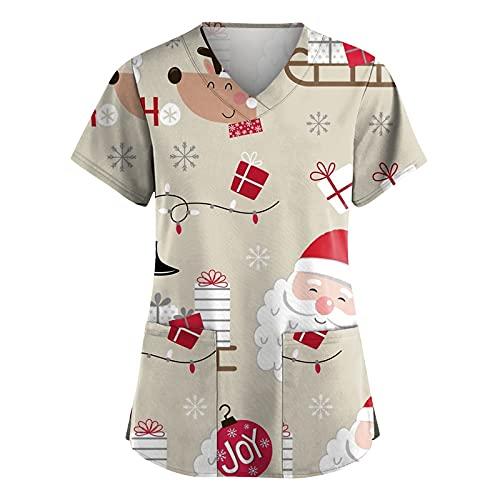 Weihnachten Kasack Damen Bunt Pflege große größen mit Motiv Christmas T-Shirt Schlupfkasack mit Taschen Kurzarm V-Ausschnitt Schlupfhemd Berufskleidung Krankenpfleger Uniformen Nurse 2021 Neu
