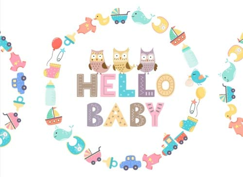 Hello Baby: Baby Shower Guest Book | Cute Cartoon Icons Welcome Baby Guest Book Keepsake Notebook Sign In Message Book Gift Log for Parents Family Friend Write Memories Relationships