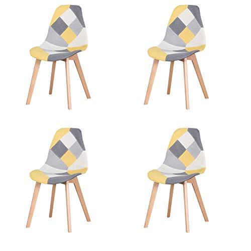 GroBKau Set di 4 sedie da pranzo moderne con gambe in legno scandinavo, sedie da studio, per soggiorno, sala da pranzo, ufficio, caffetteria, ecc., colore: giallo