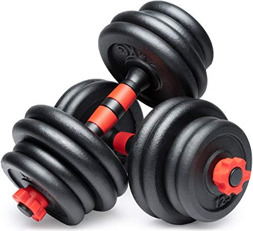POWRX Kurzhanteln 2er Set Gusseisen 15kg / 20kg / 30kg – Hantelstangen, Gewichte und Sternverschlüsse gerändelt 25mm (2 x 15 kg (30 kg))