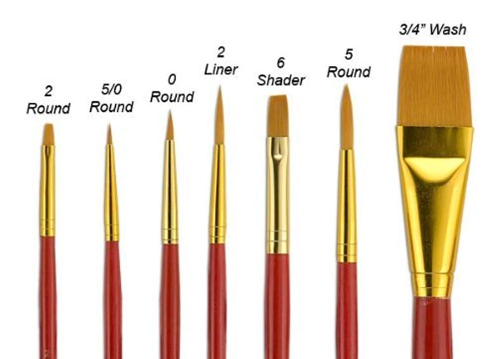 Fundamentals Paint Brush Set Short Handled For Decorative Arts, Watercolor, Acrylic, Oils, Set Of 7 Classic Golden Watercolor Paint Brushes - Set No. 15