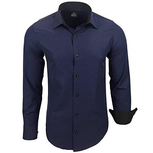 Rusty Neal Herren Kontrast Hemd Business Hochzeit Freizeit Slim Fit S bis 6XL A44, Größe:L, Farbe:Navy