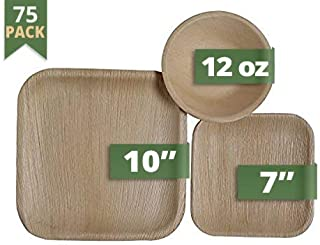 CaterEco Square Palm Leaf Dinnerware Set | Pack of 75- (25) Dinner Plates, (25) Salad Plates and (25) Bowls | Ecofriendly Disposable Dinnerware | Heavy Duty Biodegradable Party Utensils