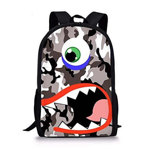 17 Inch Ademend Zomer School Book Bag Student Rugzak, Kinderen Reizen Pakket, Leeftijd 6-16 Polyester, Unisex Dubbele Rits, Comfortabel Handvat Hoge capaciteit, Cartoon 3D Patroon