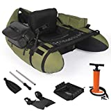 YILI Inflatable Fishing Float Tube, Floation Pontoon Boat Set with Oar, Inflate Seat & backrest,Step in Fins, Rod Holder and Rack, Storage Pocket, Hand Air Pump,Bearing 286 lbs, Green (Green)