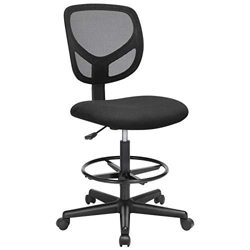 SONGMICS Bürostuhl, ergonomischer Arbeitshocker, Sitzhöhe 55-75 cm, hoher Arbeitsstuhl mit Verstellbarer Fußstütze, Belastbarkeit 120 kg, schwarz OBN15BK