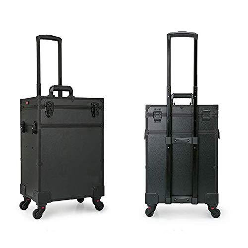 DDL Rolling Rechargeable Hair Lockable Travel Hairdressing Trolley Portable Artists Beauty Cosmetic Lu (Color : Black)