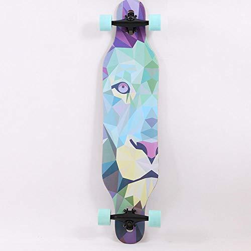 Komplett Skateboard Longboard 7 Schichten kanadischer Ahorn Deck Cruise Boards Anfänger Erwachsenes Mädchen Professionelles 41 Zoll -Löwe