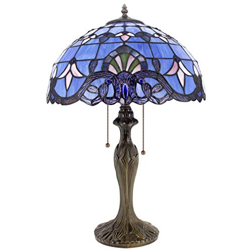 Tiffany Lamp Stained Glass Desk Lamps 24 Inch Tall Blue Purple Baroque Lavender Shade 2 Light Antique Base for Living Room Bedroom Desk Beside Coffee Table Dresser S003C WERFACTORY