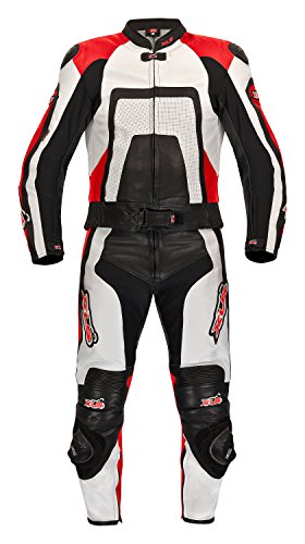 XLS – Excelente mono de piel para moto, dos piezas, tallas 46 - 60, negro / blanco / rojo