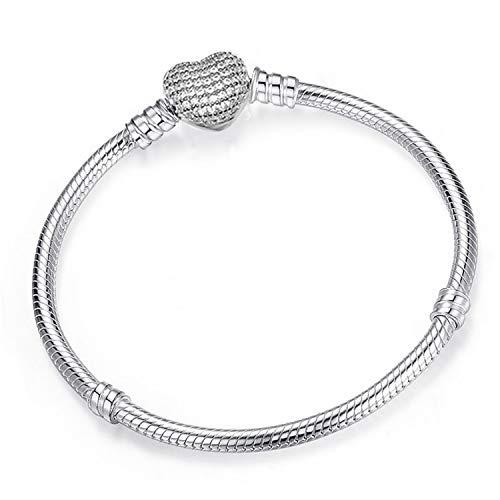 Pulsera Brazalete, Joyeria Regalo, Authentic Silver Color Snake Chain Fine Bracelet Fit European Charm Bracelet For Women DIY Jewelry Making R05 17cm
