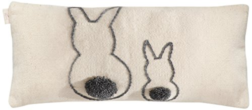 Muna Home Bunny Funda de Cojín Lana Blancos y Gris 60x30x3 cm