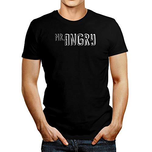 Idakoos Mr Angry Solid Font T-Shirt L Black