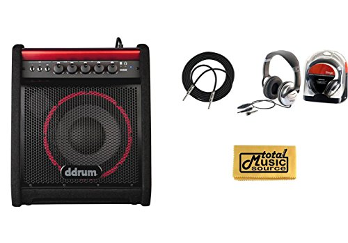 ddrum DDA50 50W Electronic Percussion Kickback Amplifier with Open-Ear Headphones,18.6ft Instrument Cable and Zorro Sounds Amplifier Polishing Cloth
