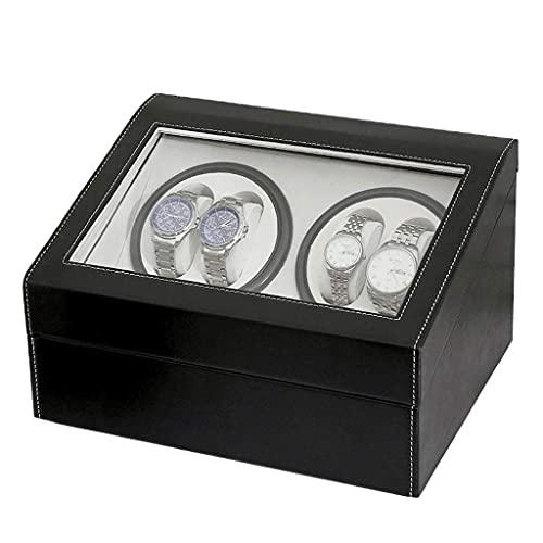 LLSS Enrolladores de Reloj 4 + 6PU Caja de Reloj eléctrica de Cuerda automática de Cuero de Gama Alta Agitador de Engranajes de Diente Completo Adecuado para muñecas de Mujere