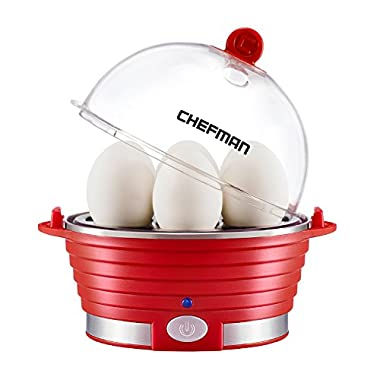 Chefman Electric Egg Cooker/Boiler, Rapid Egg Maker, Countertop, Hard Boil Egg Steamer and Poacher, 6 Egg Capacity With Removable Tray, Small, Red