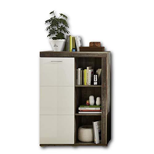 CROWN X Stauraumelement in Driftwood Optik, Weiß - Moderner Wohnzimmerschrank mit viel Platz für Deko - 87 x 125 x 38 cm (B/H/T)
