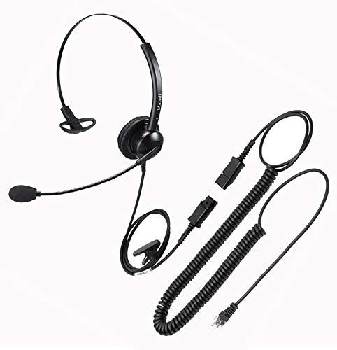 MAIRDI Telefon Headset mit Noise Cancelling Mikrofon, Mono büro CallCenter Kopfhörer mit RJ11 Klinke für Festnetztelefonen Polycom Avaya Nortel Aastra