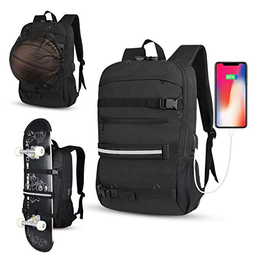 Travel Laptop Backpack, Basketball Backpack with Net,Skateboard Backpack, Professional Business Backpack Bag with USB Charging Port, Water Resistant,Reflective Strip