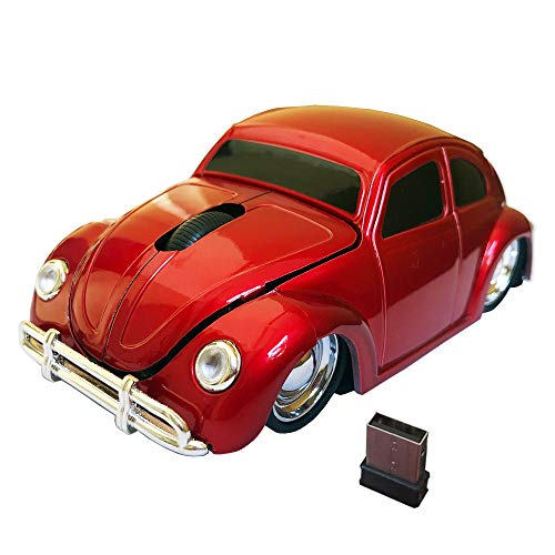 Jinfili 2.4G Wireless Car Mouse 1967's VW Beetle Classical Shaped Car Computer Mouse Ergonomic Gaming Mice for Desktop Laptop PC Window 10
