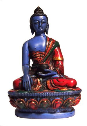 mytibetshop Hand Painted Earth Touching Buddha Statue for Home and Alter,