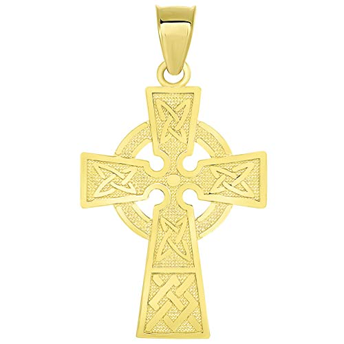 Solid 14k Yellow Gold Trinity Knot Celtic Cross Pendant