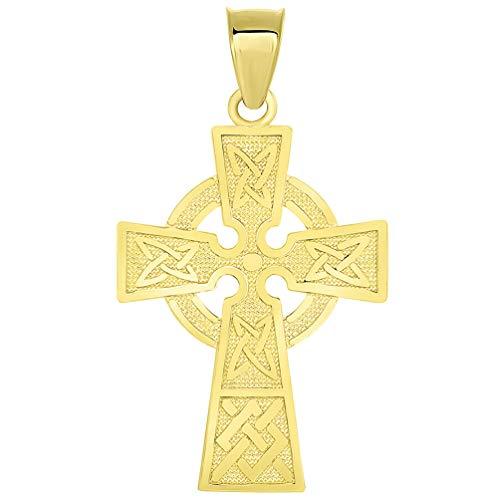 Solid 14k Yellow Gold Trinity Knot Celtic Cross Pendant