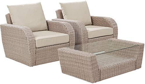 Crosley Furniture St Augustine 3 Pc Outdoor Wicker Seating Set With Oatmeal Cushion - Two Outdoor Wicker Chairs, Coffee Table