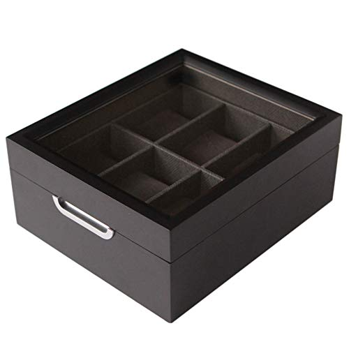 Modern 2x3 Black Finish with Custom Aluminum Handle 6-Slot Watch Box with Real Glass by Case Elegance