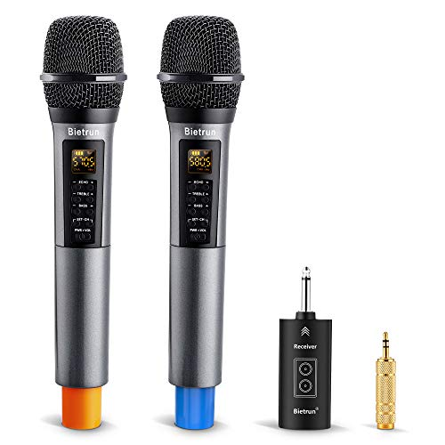 Wireless Microphone with Echo, Treble, Bass & Bluetooth, 98 FT Range, Portable UHF Handheld Wireless Karaoke Dynamic Microphone System with Rechargeable Receiver, for Karaoke, Singing, Amp, PA System