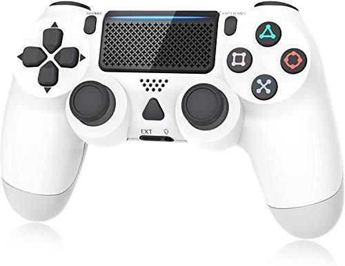Controlador para Playstation 4, Controller para PS4 / Pro/Slim, Joystick de controle de jogo com função de vibração, conector de fone de ouvido, sensor giroscópio de 6 eixos/bateria 1000mAh (branca)