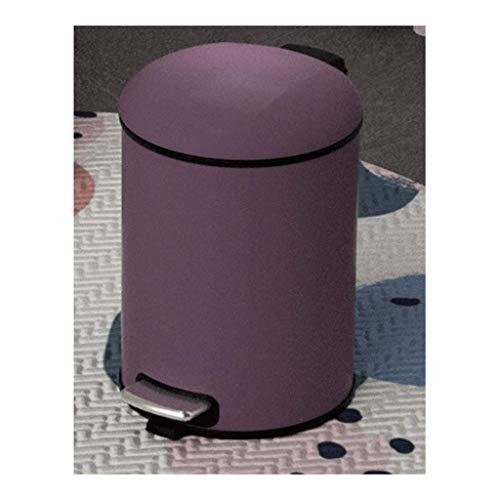 LXYZ Bote de Basura Morado de Niebla con Pedal de Acero Inoxidable con Tapa, Bloqueo de olores, cesto de Papel de desecho, para Hotel/hogar/Dormitorio/Cocina