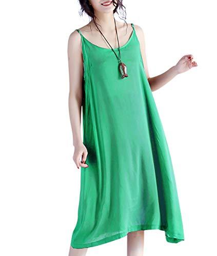 YESNO JEL Women Casual Loose Slip T-Shirt Dresses Beach Cover up Plain Dress A Skirt Hemline (L, JEL Green)