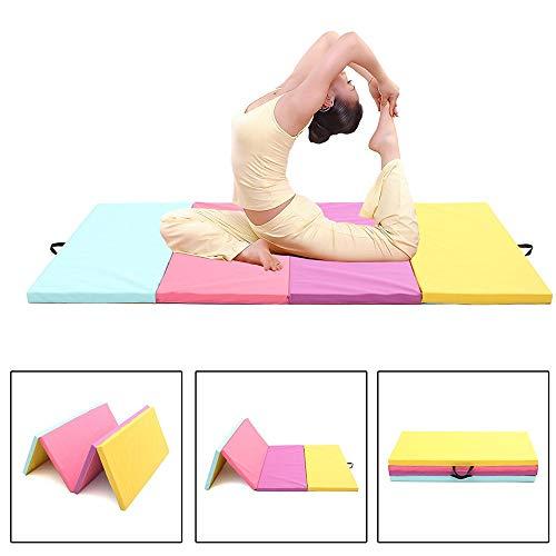 Cxraiy-HO Turnmatte Fitnessmatte 4 Folding Leder Turnmatte Yoga-Übung Gym-Panel Tumbling Klettern Pilates Pads Air Track (Color : Multi-Colored, Size : 240x120x5cm)