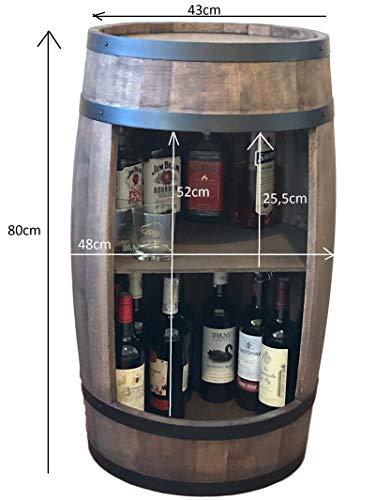 weeco Bar Schränk LED. Weinregal, Weinschrank im Retro Stil. Höhe 81cm. Fass mit Massivholz - 3