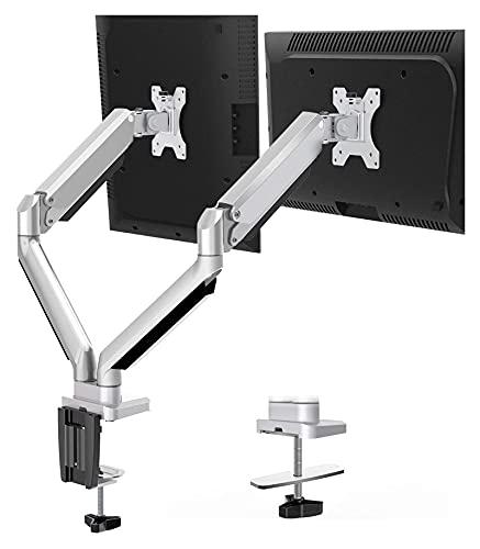 TabloKanvas Montaje Dual Monitor Mount- 2 Monitor Monte DE DESPENDO DE ARMO con PANTALÓN DE Monitor DE PERPUALIZA DE Gas SIN SROSING Pantalla DE 2 Pantallas (Color : Black)