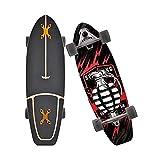 XKAI Carver Tabla Completa Surfskate Skateboard 75×23cm Deck de Madera de Arce de Pumping Longboard para Principiantes para Adolescentes y Adultos, Rodamientos de Bolas ABEC-11 Monopatin, Truck CX4