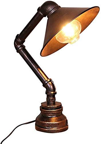Lámparas de escritorio FHW Tabla Industrial Vintage lámparas de Hierro Base del Tubo de Agua Reloj de cabecera, Dormitorio, habitación, Cafetería Bar Comedor