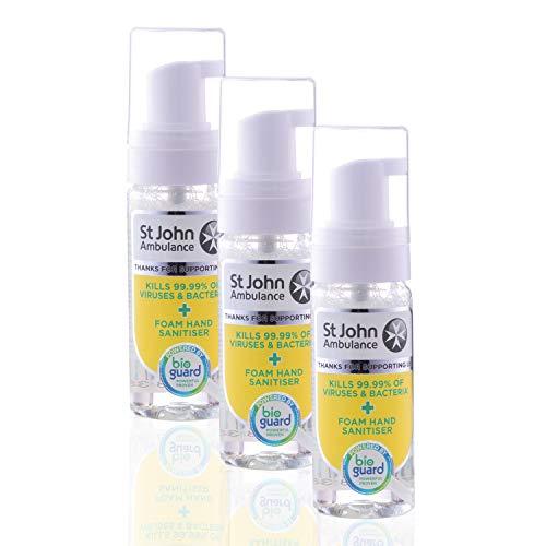 St John Ambulance | Desinfectante de manos de espuma, grado hospitalario y probado científicamente, paquete de 3 | 50 ml