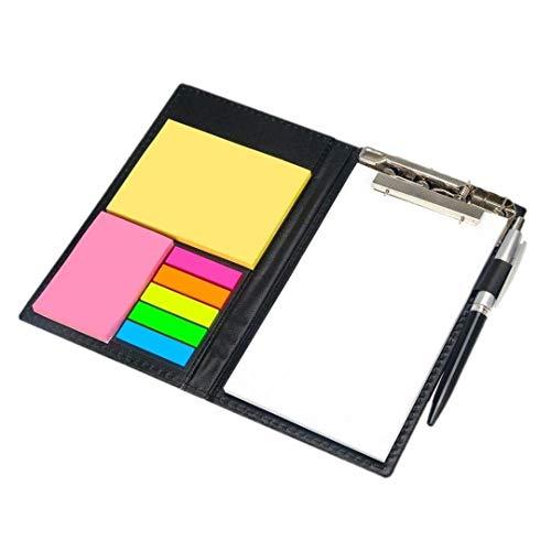 ポストイット 付箋 手帳入れ メモ用紙ペン付き クリップボード バインダー PUレザー カード 黒 軽量 高級感 ギフ