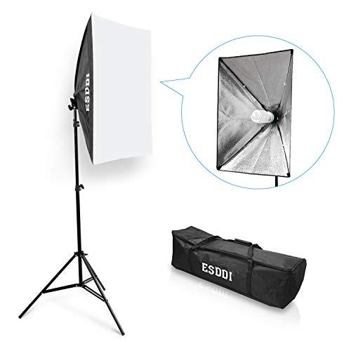 ESDDI Softbox Kit Luz de Iluminacion Estudio Fotografia, con 1 Lampara Fotografia 85W, 1 Ventana de Luz 50x70cm, 1 Tripodes, 1 Bolsa de Transporte