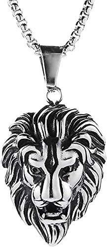 N-G Collar Collar Hip-Hop Collar con Colgante de Cabeza de león para Hombre Luxy Chapado en Oro Plateado Collares Largos Joyería Regalos D Colgante de Amistad