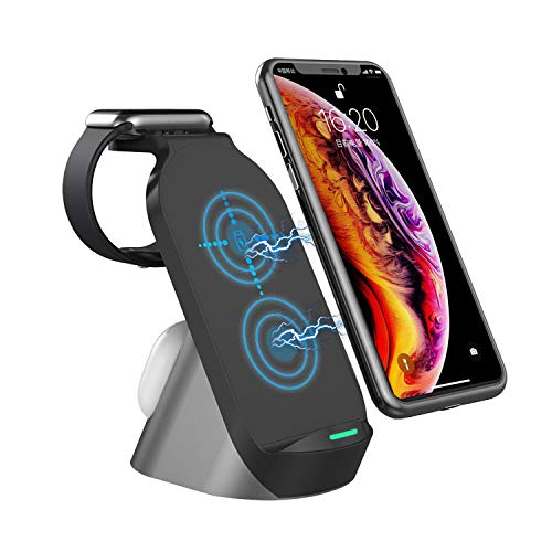 Estación de Carga inductiva 3 en 1 para Apple iWatch Serie SE / 6/5/4/3/2/1, AirPods, para móvil iPhone 12/11 Series / XS MAX / XR / XS / X / 8/8 Plus / Samsung Wireless Charger