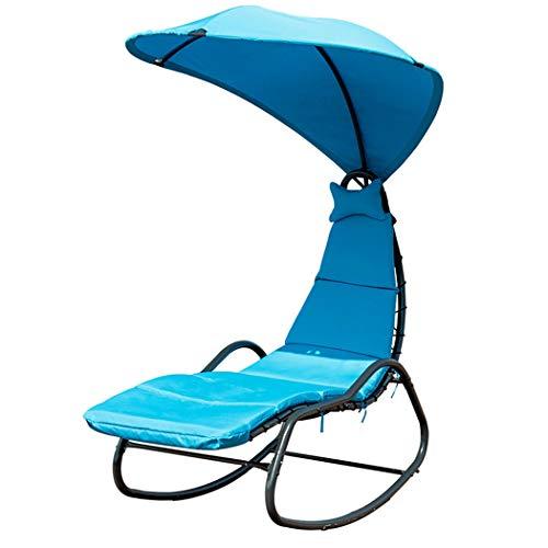 U/S Silla de salón colgante para patio, de 10 pies, con sombrilla, fuerte estabilidad, estructura de acero resistente, silla ergonómica para exteriores (azul)