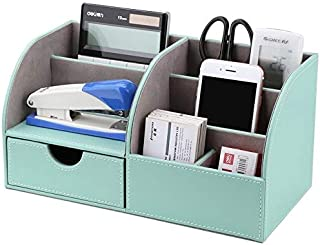 Stationery Holder - 6 Slots Half PU Leather Office Desk Organizer Desktop Stationery 6 Compartments Storage Box Marble Pen...