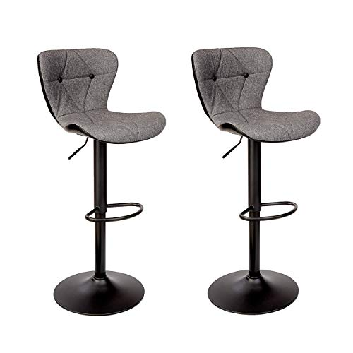 Halter Modern Adjustable Height Bar Stool with Backrest and Footrest, Counter Height Swivel Stool, Gray and Black, Set of 2